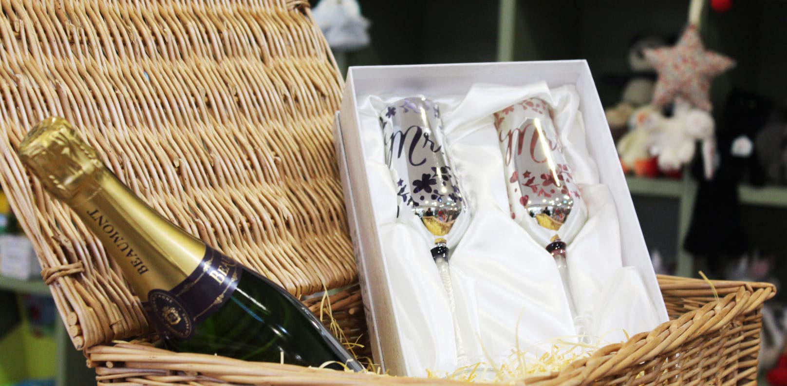 Champagne glasses and bottle from Pippin Gift Shop