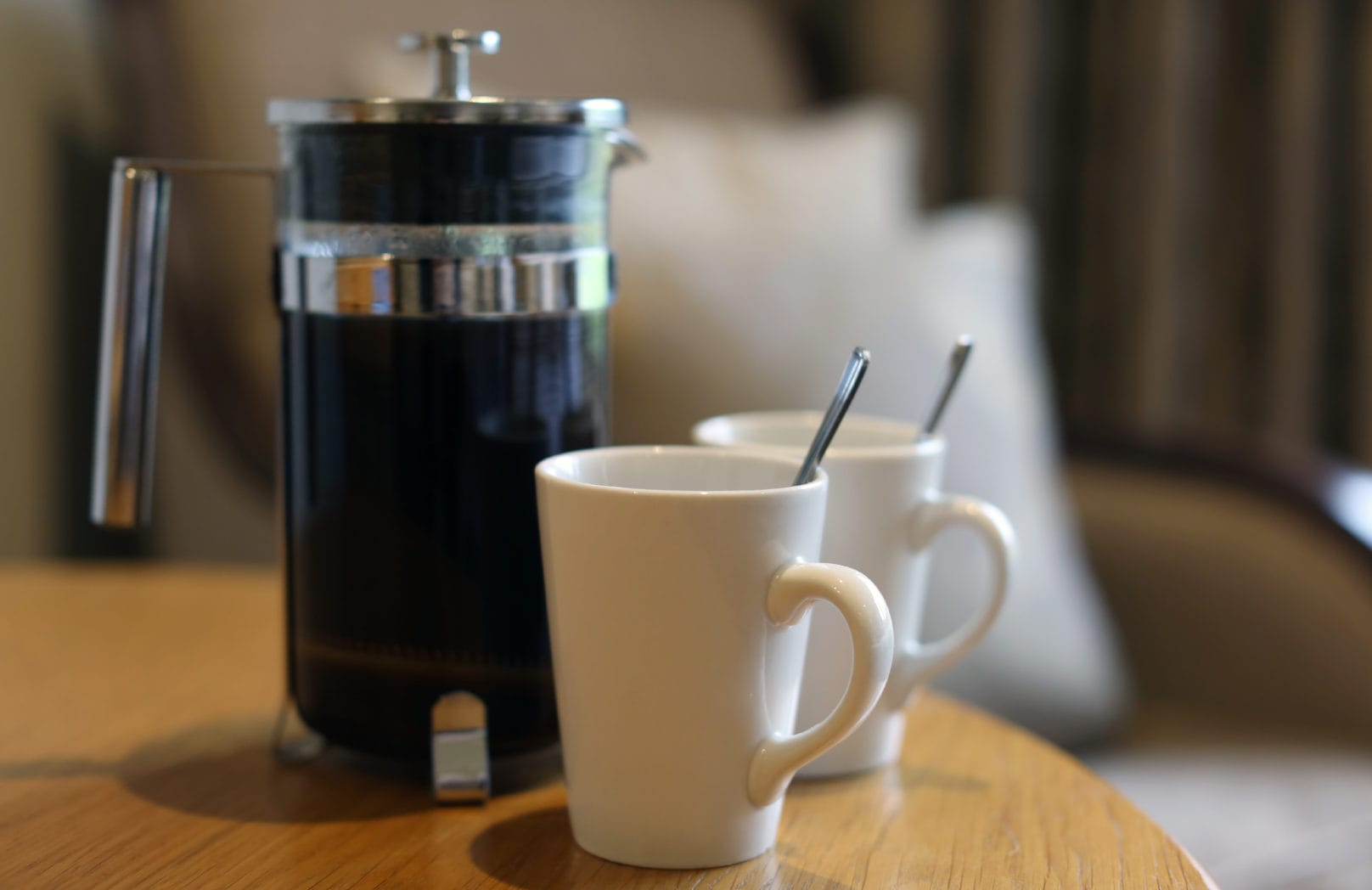Coffee and mugs hotel bedroom