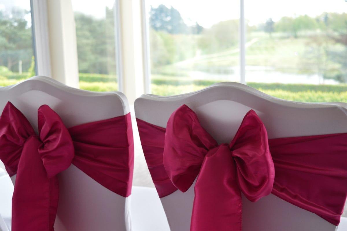 Pink wedding cake close up