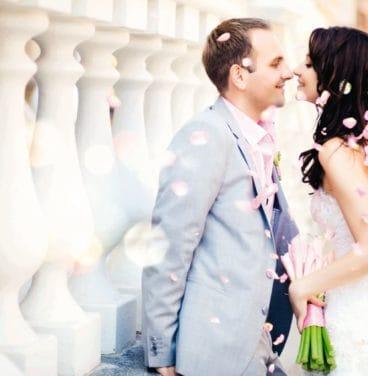 Wedding - couple and confetti