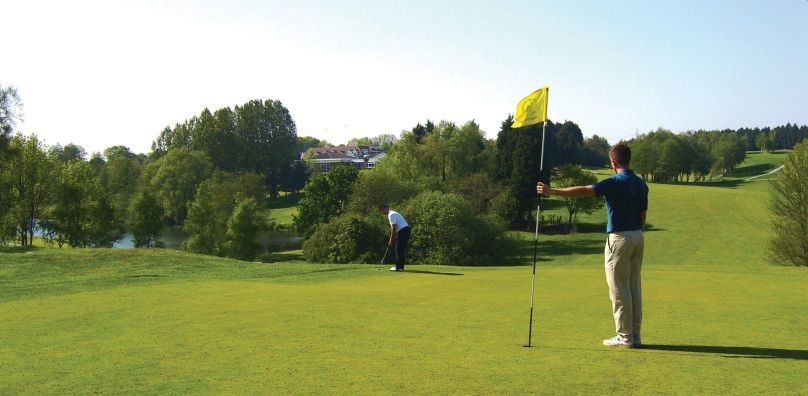 Golfers on the second hole of the Gainsborough course