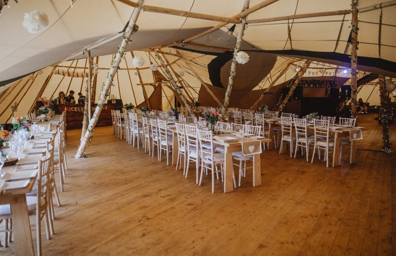 Tipi wedding seating