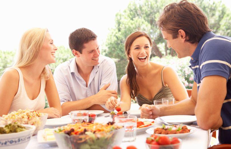 Couples enjoying a meal