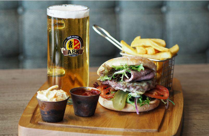 Burger and a pint of ABK