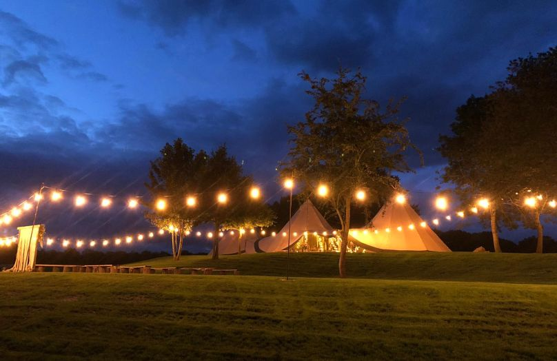 Tipi Wedding at night